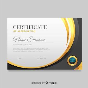 Elegante goldene zertifikatvorlage