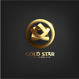 Elegante goldstern-logo-schablone