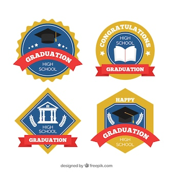 Elegante graduierungsabzeichensammlung mit flachem design