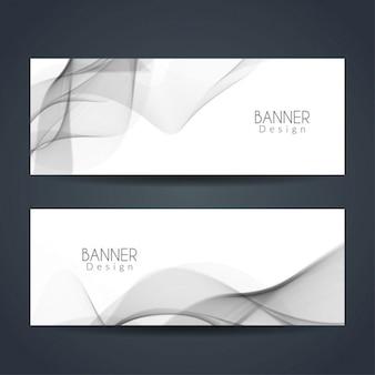 Elegante graue wellige banner gesetzt