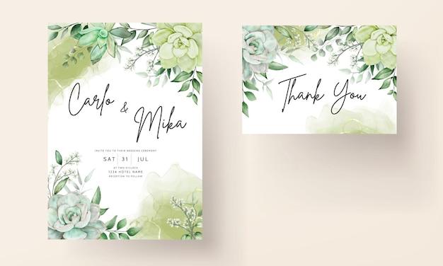 Elegante grüne aquarellblumenhochzeitseinladungskarte