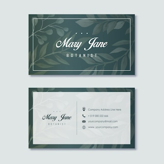 Elegante grüne botaniker-visitenkarte-schablone
