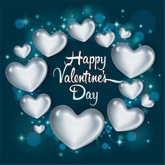 Elegante grußkarte mit glänzenden silbernen herzen. alles gute zum valentinstag.