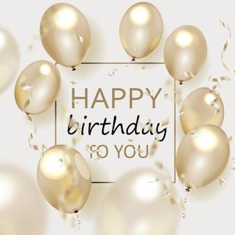 Elegante grußkarte zum geburtstag mit goldenen luftballons und fallendem konfetti