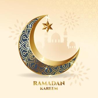 Elegante halbmondverzierung. ramadan kareem grußkarte mit moscheenschattenbild.