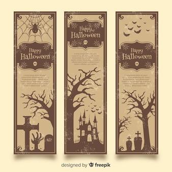 Elegante halloween-fahnen mit weinleseart