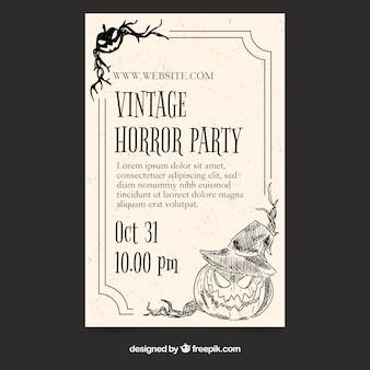 Elegante Halloween-Partyfliegerschablone mit Weinleseart