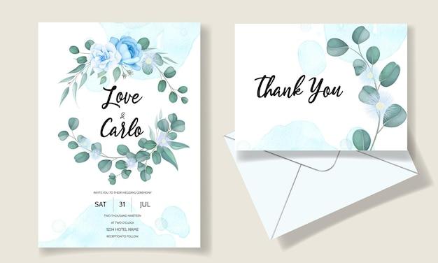 Elegante hand gezeichnete blumenhochzeitseinladungskarte