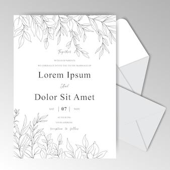 Elegante hand gezeichnete hochzeitseinladungskarte mit blättern