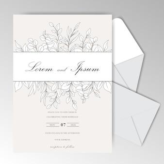 Elegante hand gezeichnete hochzeitseinladungskartenschablone mit schönen blättern