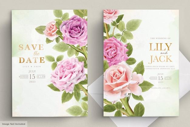 Elegante hand gezeichnete lilie einladungskarte gesetzt