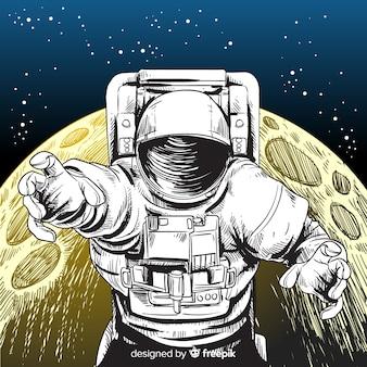 Elegante hand gezeichneten astronaut charakter