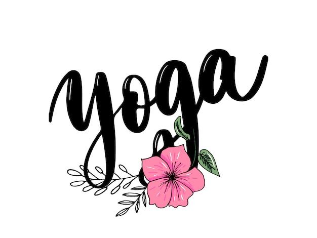 Elegante handbeschriftung des yoga studio-konzeptlogos