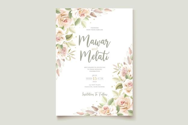 Elegante handgezeichnete rosen einladungskarte