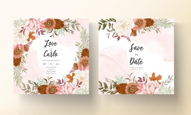 Elegante handgezeichnete süße florale hochzeitseinladungskarte