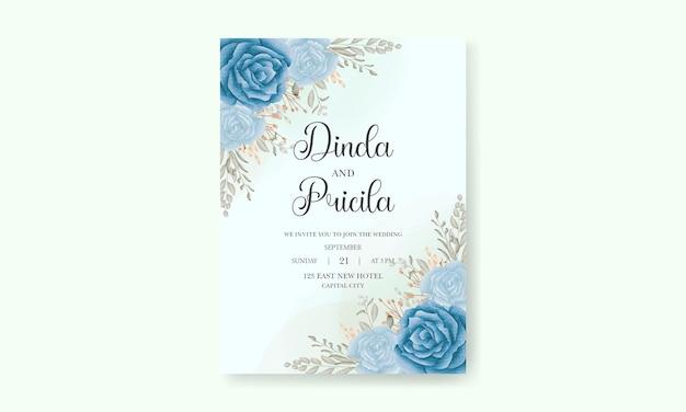 Elegante handzeichnung aquarell blumen einladungskarte mit weichen blumen und blättern