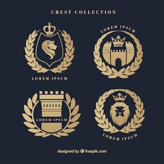 Elegante heraldischen schild mit lorbeerkranz