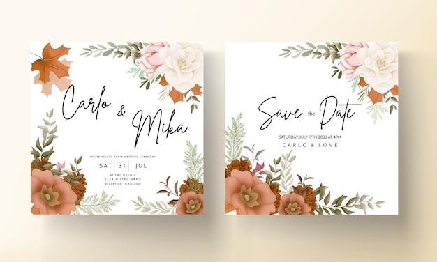 Elegante herbstblumenhochzeitseinladungskarte mit rosen- und kiefernblume