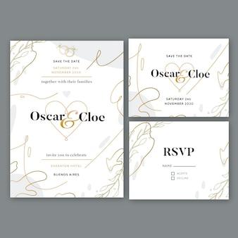 Elegante hochzeit briefpapier vorlage design