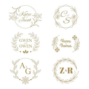 Elegante hochzeit logos sammlung
