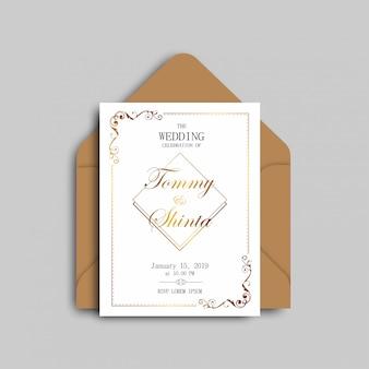 Elegante hochzeits-einladungen mit goldrahmen