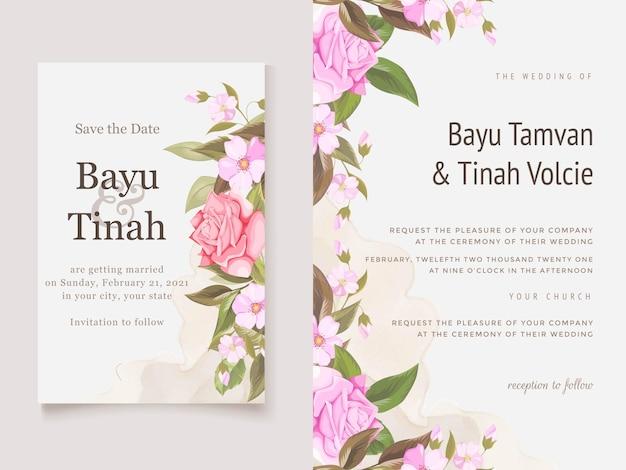 Elegante hochzeits-einladungs-karten-schablone mit rosen und blättern