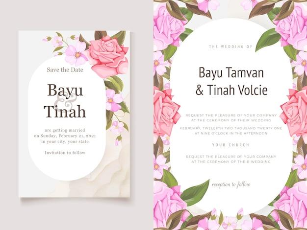 Elegante hochzeits-einladungs-karten-schablone mit rosen