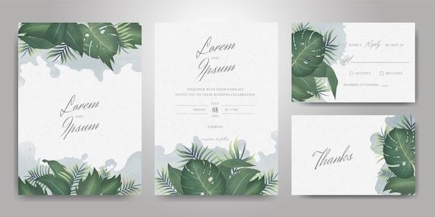 Elegante hochzeits-einladungs-karten-schablonen-set mit tropischen blättern und aquarell-spritzhintergrund