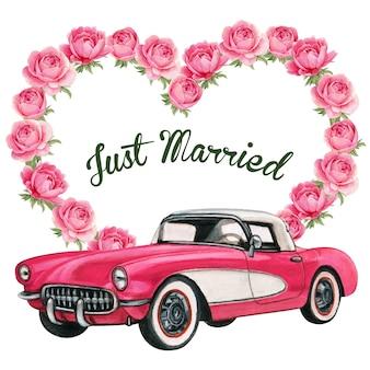 Elegante hochzeitseinladung mit vintage rosa auto und pfingstrosenkranz