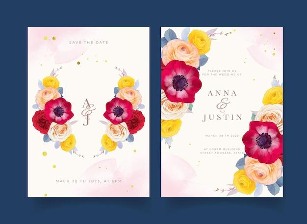 Elegante hochzeitseinladungen mit aquarellrosen, rote anemone und ranunkeln