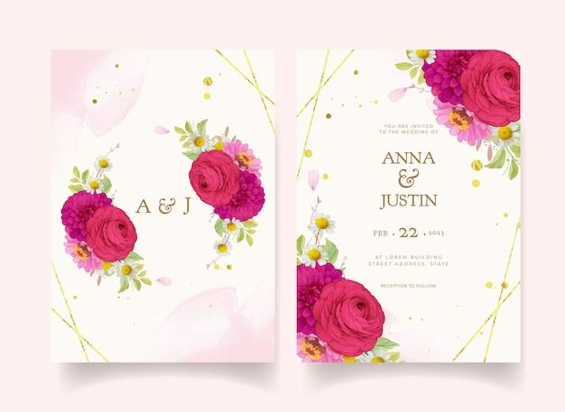 Elegante hochzeitseinladungen mit dunkelrosa aquarellblumen