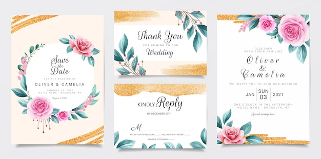 Elegante hochzeitseinladungs-briefpapierschablone stellte mit aquarellblumen- und -funkelnhintergrund ein