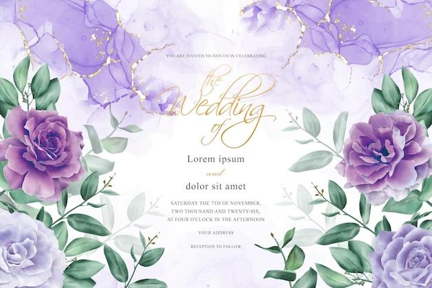 Elegante hochzeitseinladungs-design-vorlage mit handgezeichneter blumen- und eukalyptus-blätter-anordnung