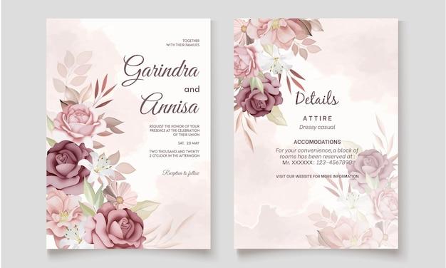 Elegante hochzeitseinladungskarte mit braunem blumenmuster und blättern