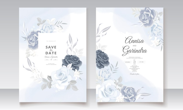 Elegante hochzeitseinladungskarte mit der schönen blumen- und blattschablone der marineblau