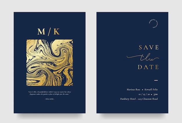 Elegante hochzeitseinladungskarte mit goldenem flüssigem element