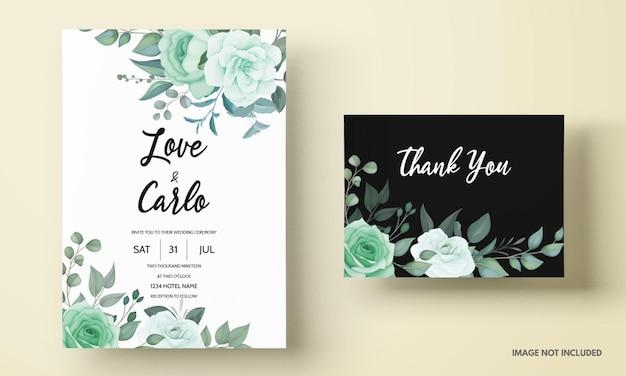 Elegante hochzeitseinladungskarte mit grünblumen