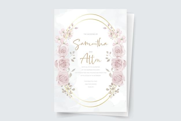 Elegante hochzeitseinladungskarte mit handgezeichneter weicher blume und blättern