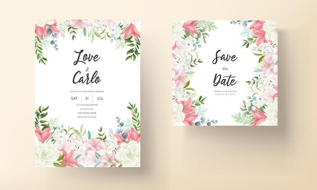 Elegante hochzeitseinladungskarte mit handzeichnung weiche blume und blätter