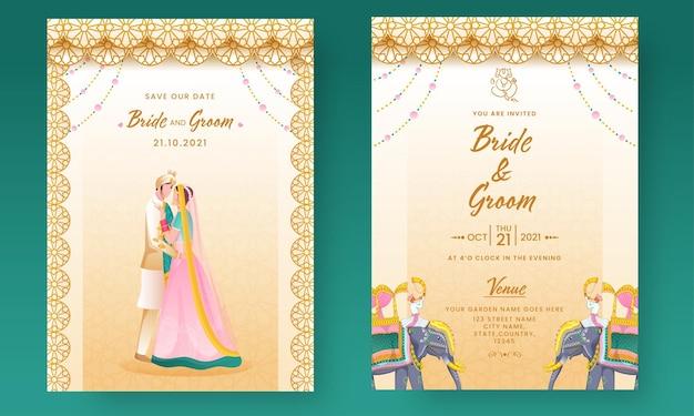 Elegante hochzeitseinladungskarte mit indischem bräutigam in vorder- und rückseite.