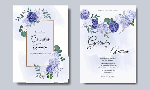 Elegante hochzeitseinladungskarte mit schönem blauen blumen- und blattschablonen-premium-vektor