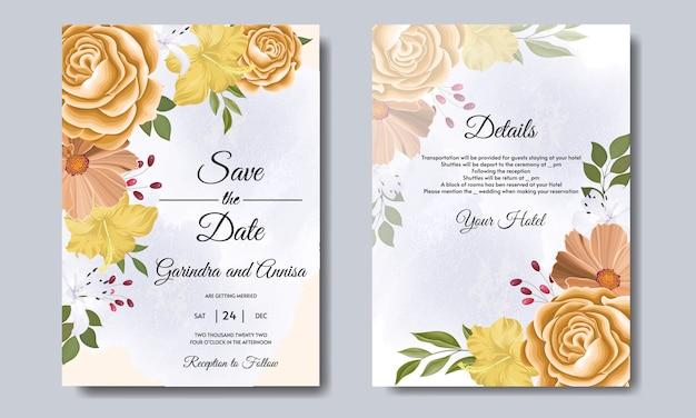 Elegante hochzeitseinladungskarte mit schönem blumen- und blattschablonen-premium-vektor