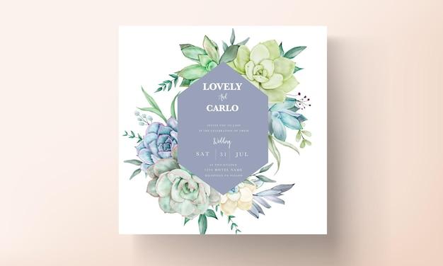 Elegante hochzeitseinladungskarte mit schönem saftigem blumenaquarell