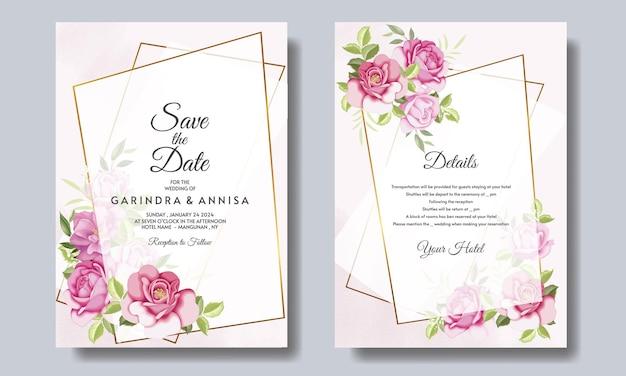 Elegante hochzeitseinladungskarte mit schönen blumen und blättern