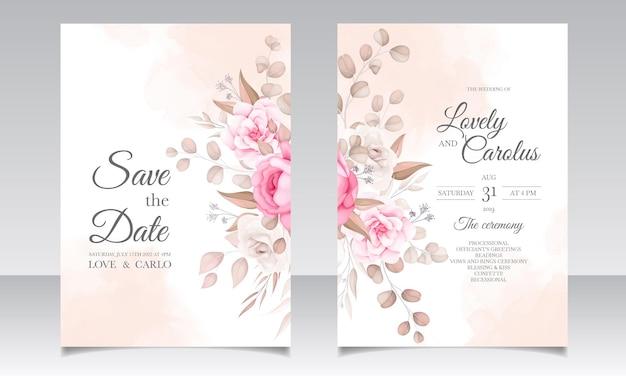 Elegante hochzeitseinladungskarte mit schönen blumen
