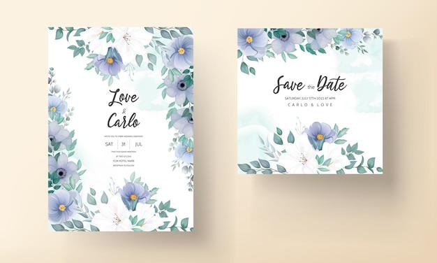 Elegante hochzeitseinladungskarte mit schönen blumenverzierungen