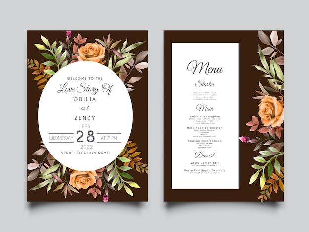 Elegante hochzeitseinladungskarte mit schönen handgezeichneten blättern und blume
