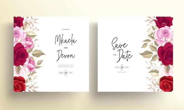 Elegante hochzeitseinladungskarte mit schönen kastanienbraunen rosen