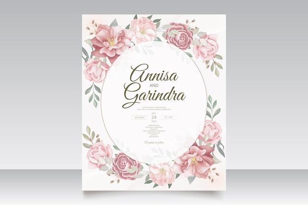 Elegante hochzeitseinladungskarte mit schöner blumen- und blätterschablone