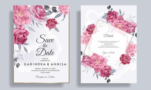 Elegante hochzeitseinladungskarte mit schöner blumen- und blattschablone